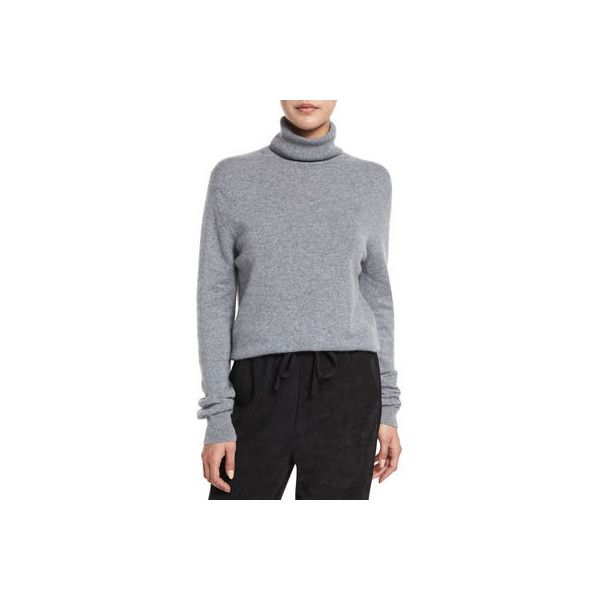 Vince Cropped Cashmere Turtleneck Sweater ($320) ❤ liked on Polyvore featuring tops, sweaters, heather stone, turtleneck sweater, pullover sweater, turtle neck sweater, long sleeve turtleneck and vince sweaters