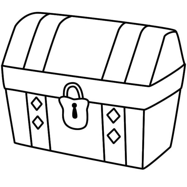 a simple drawing of locked treasure chest coloring page - Simple Drawing For Kid