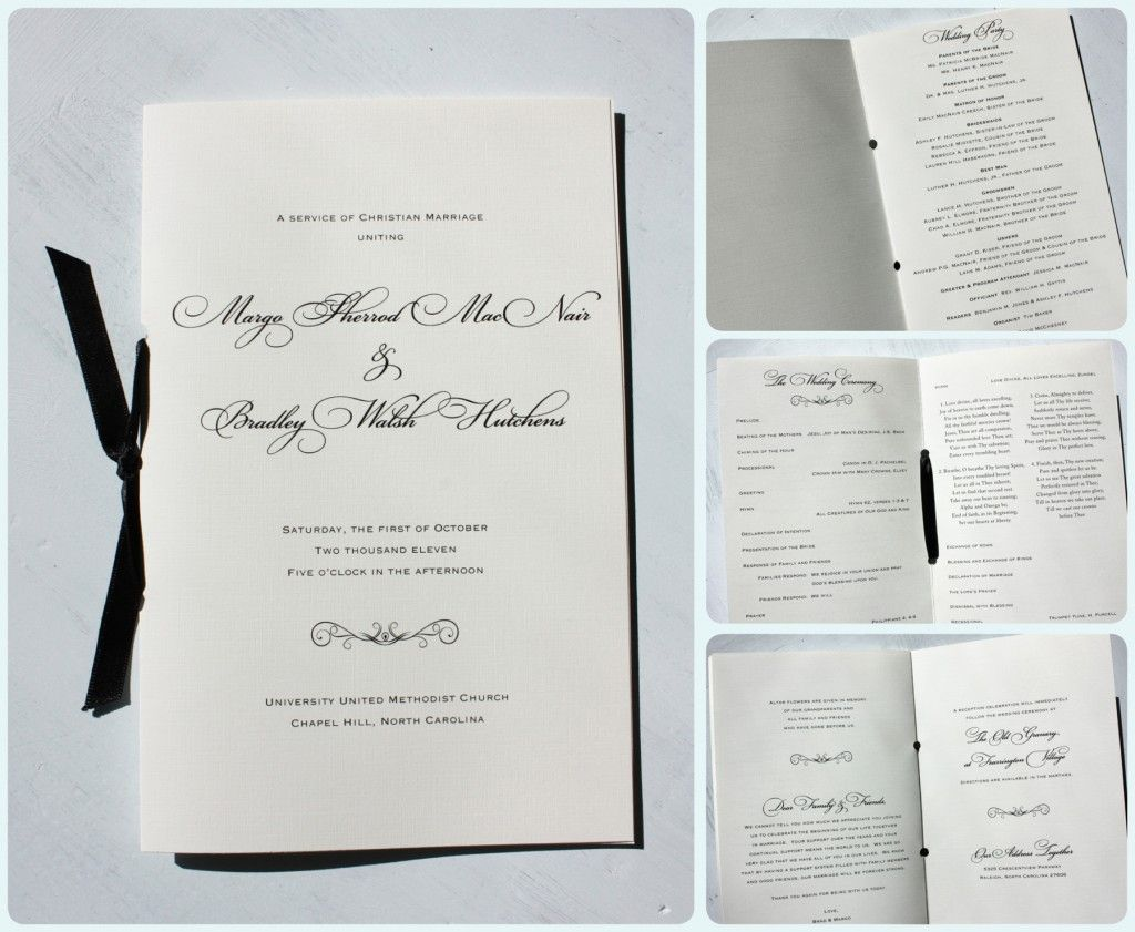 black fancy script scroll wedding ceremony booklet programs with