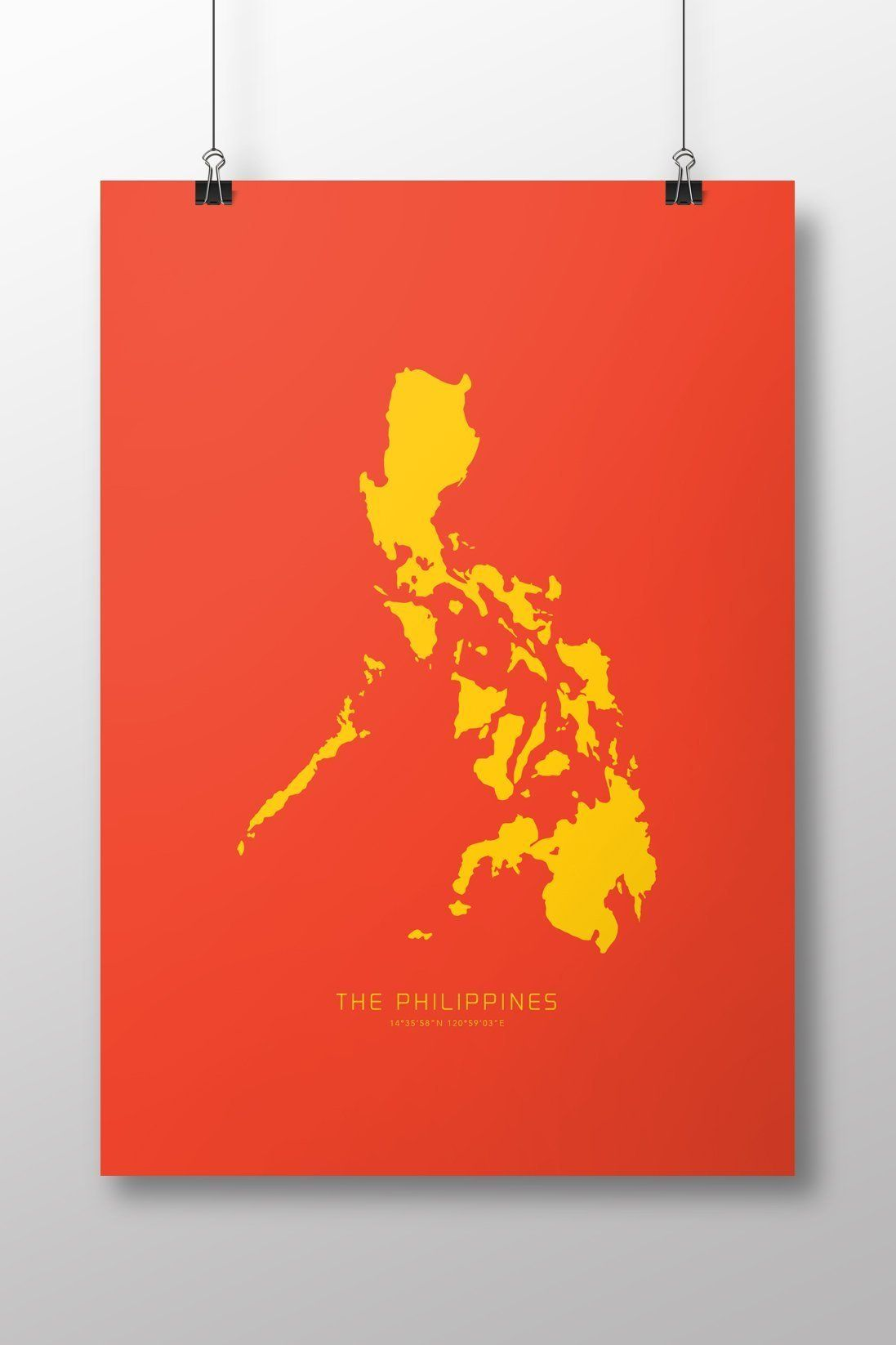 Philippines Map Art Print. Philippines: PRINT SIZE currently only ...