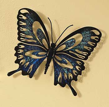 Old Fashioned Blue Butterfly Wall Art Festooning - Wall Art ...