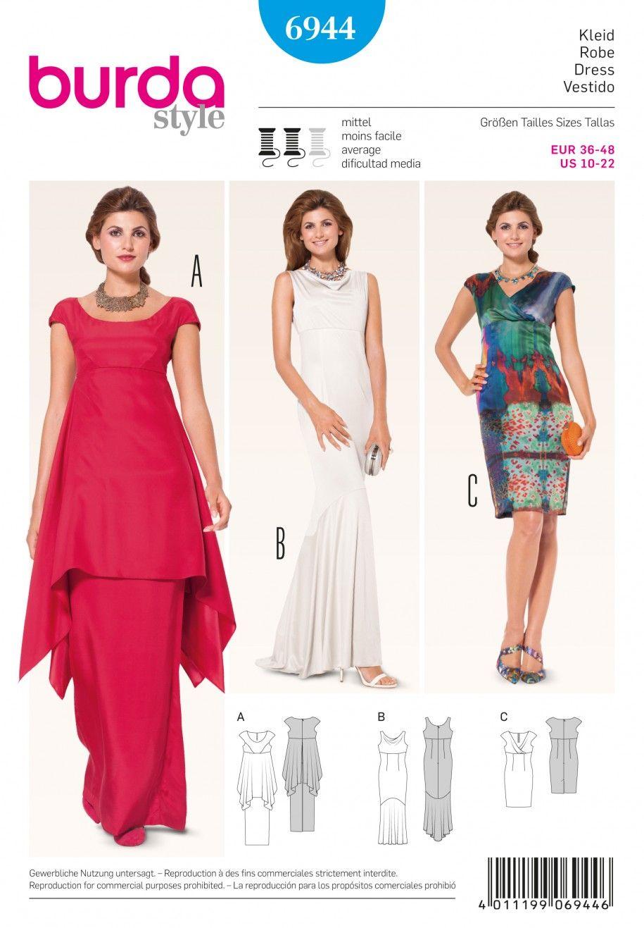burda b6944 burda style evening & bridal wear sewing pattern