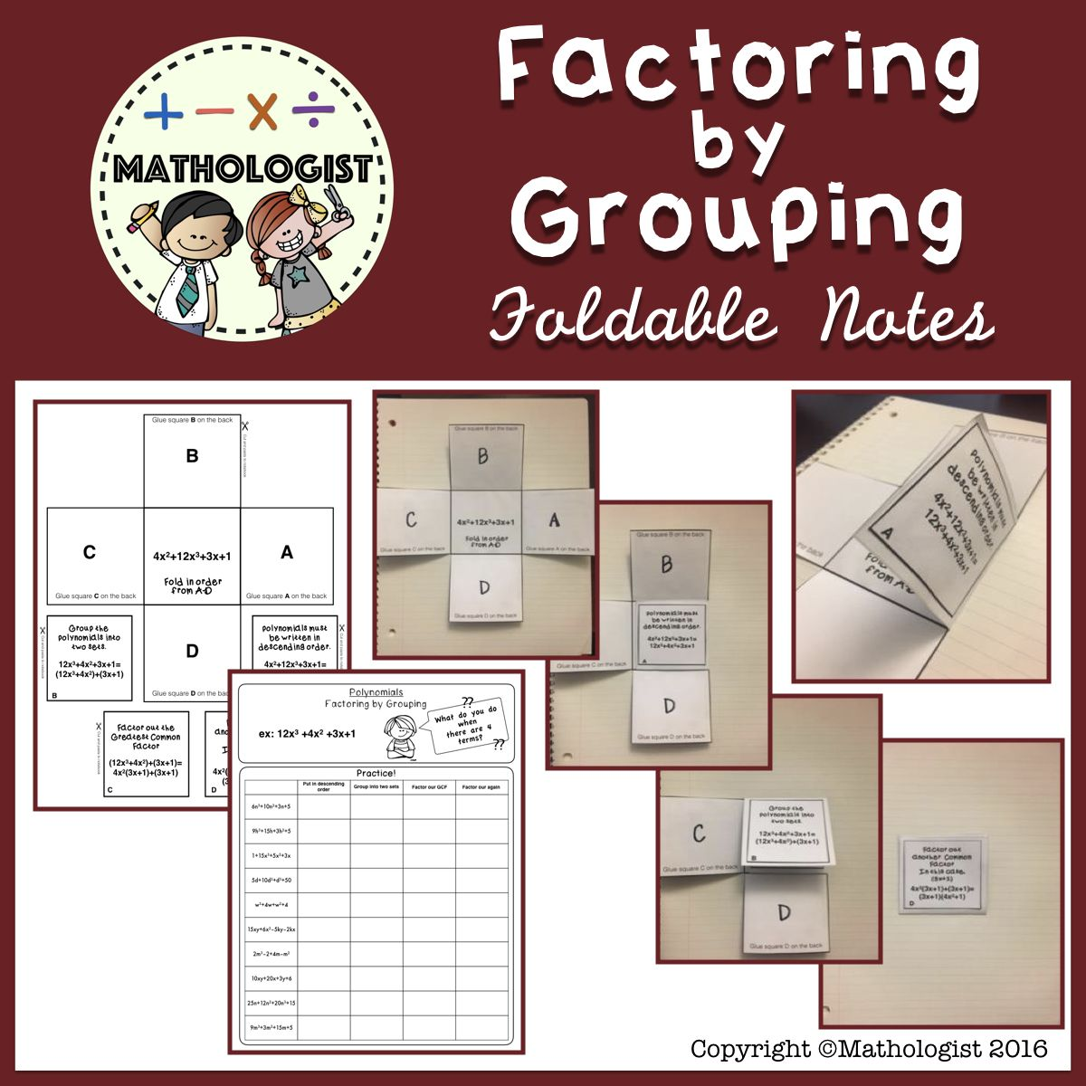 Factoring with Grouping, Algebra, Foldable Notes Algebra