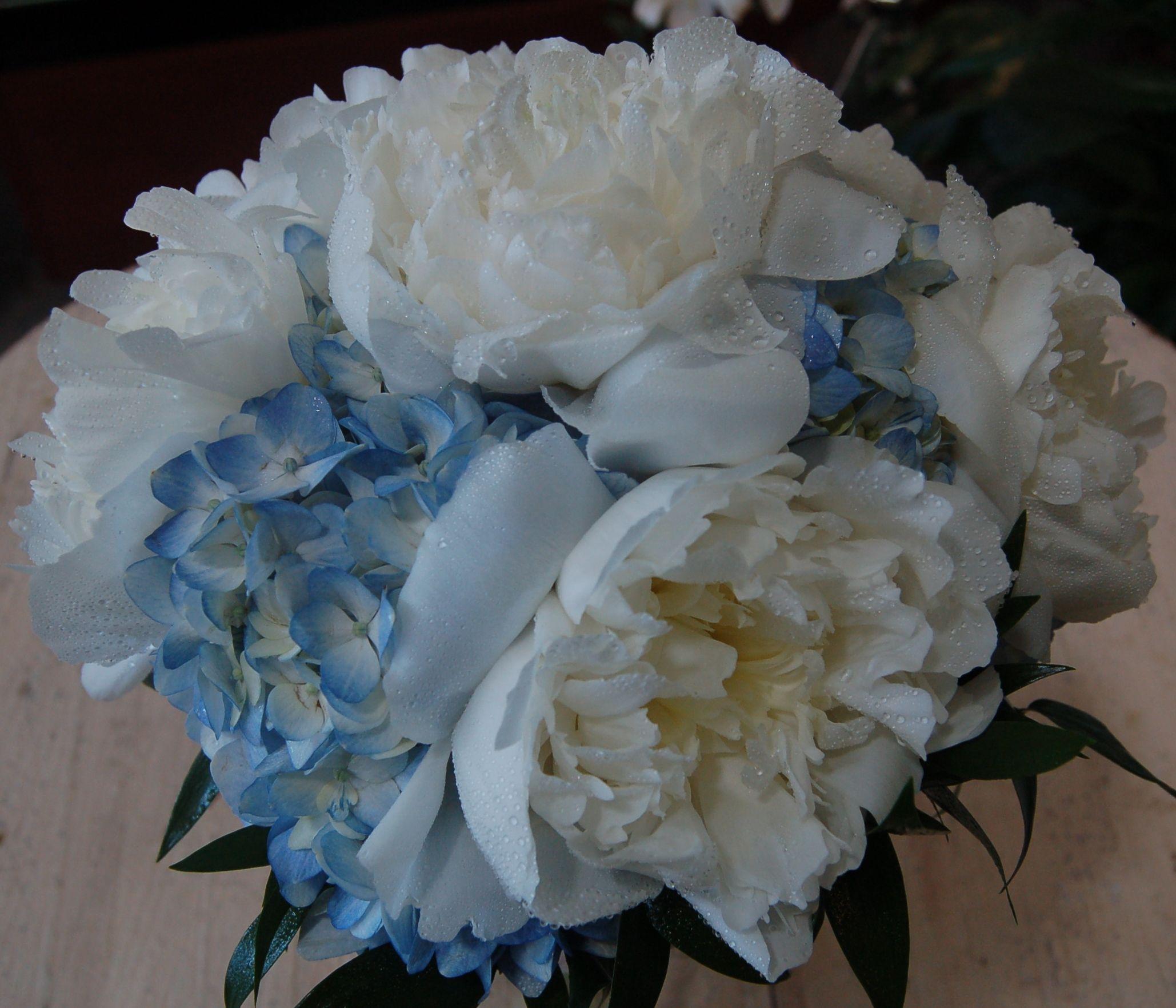Peony And Blue Hydrangea Bridal Bouquet