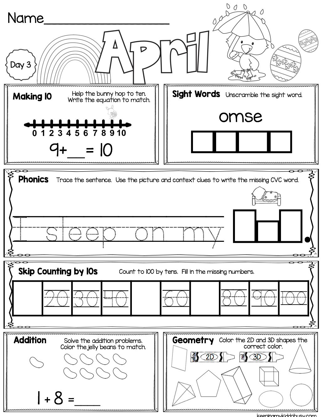 Free April Morning Work For Kindergarten