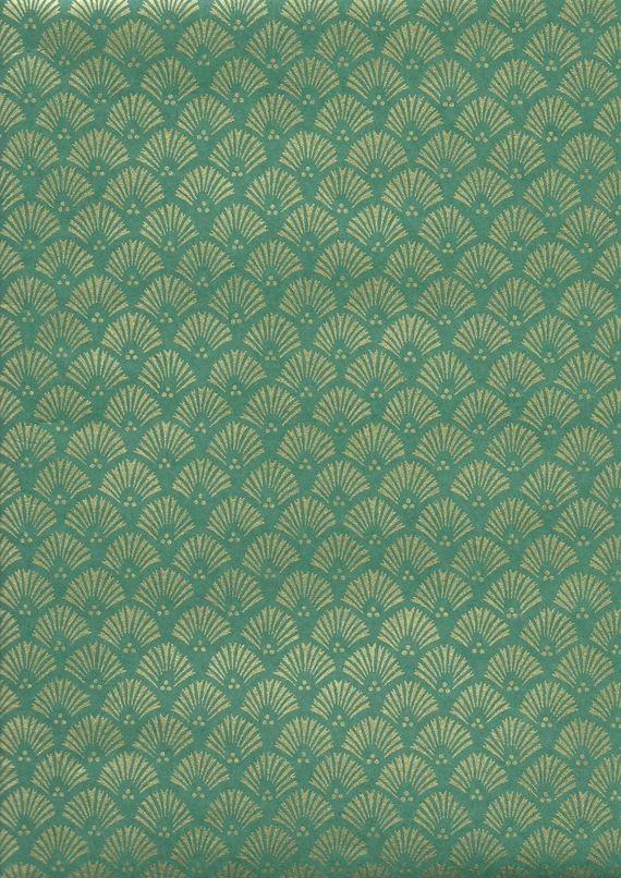 papier japonais motif classique japonais sur fond vert. Black Bedroom Furniture Sets. Home Design Ideas