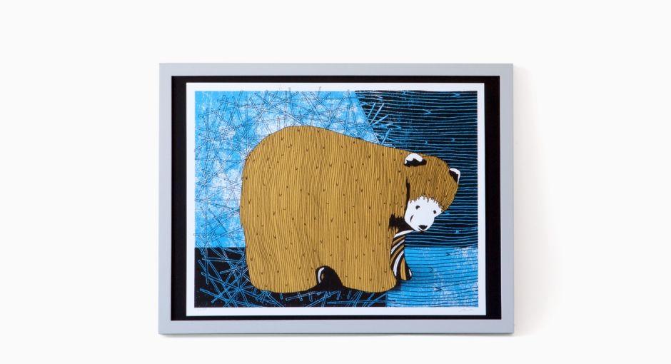 Folk Bear Art Print Siebdruck