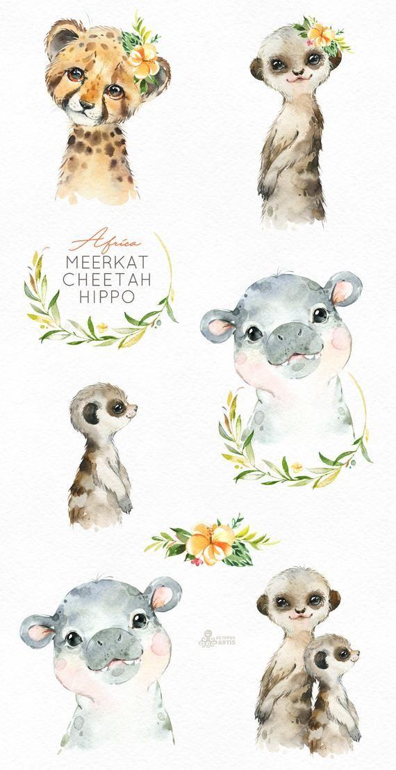 Africa Hippo Cheetah Meerkat Watercolor little animals clipart, suricate, babies portrait, wreath, flowers, kids, nursery art, baby-shower