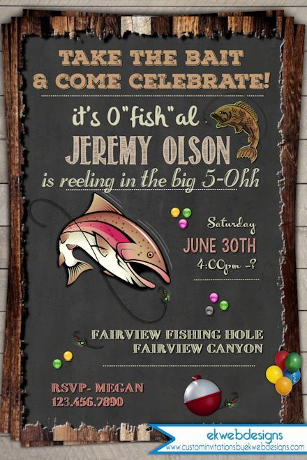 Fishing Birthday Invitation Invite 30th 40th 50th 60th Vintage Rustic Printable