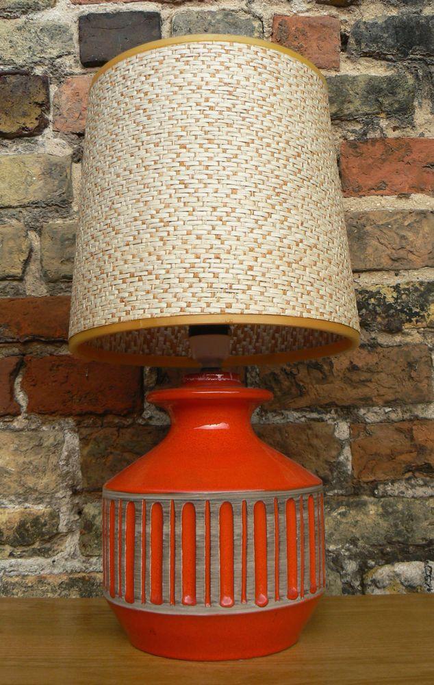 60s Ceramic Bitossi Italian Lamp Amp Shade 50s 70s Retro