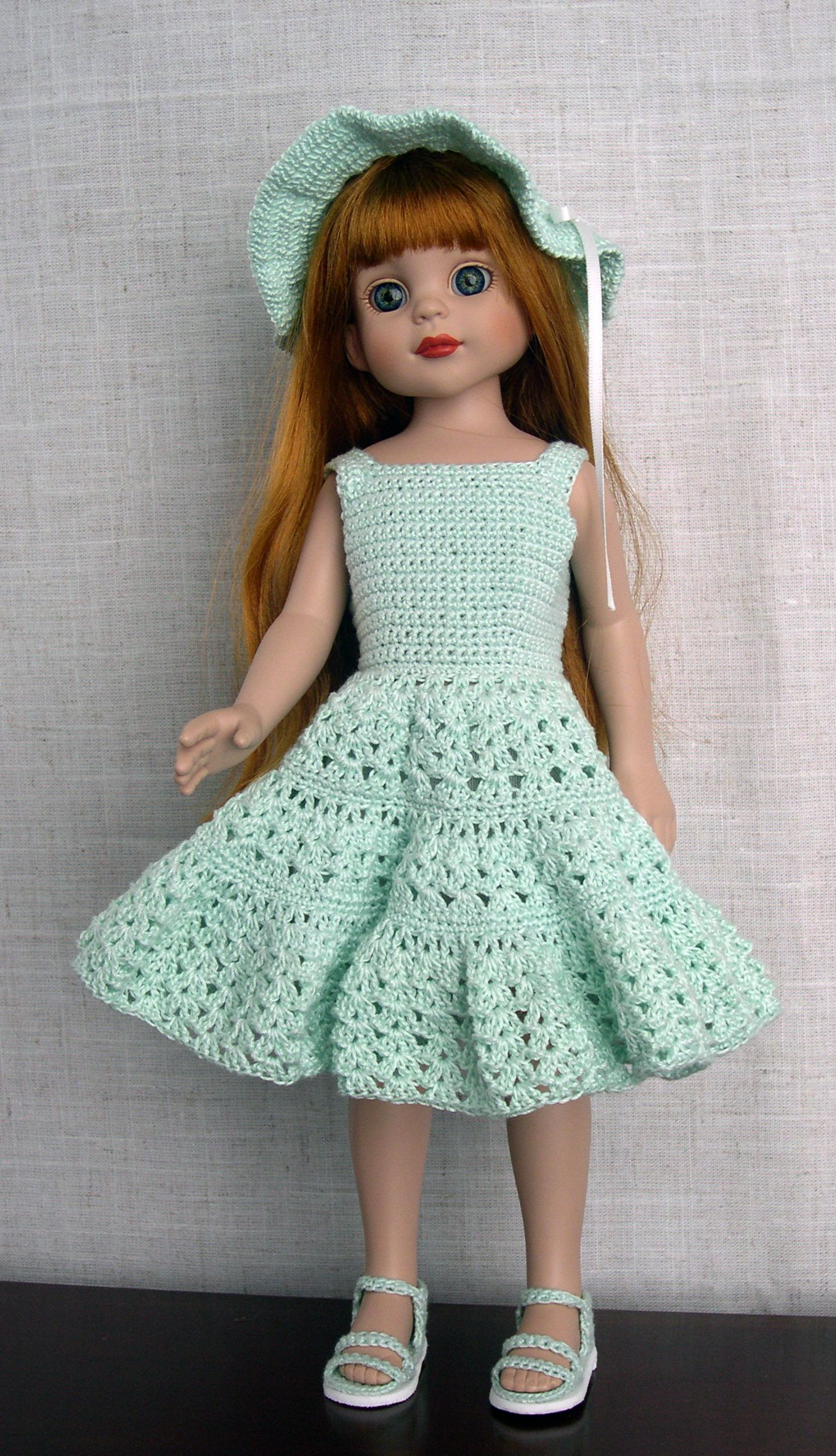 "14 inch Doll Clothes  Handmade crochet doll outfit made to fit 14"" vinyl dolls such as Betsy McCall by Robert Tonner  Jane McCall is modeling a crochet doll dress and hat made from a modified Barbie Doll crochet pattern  Her sandals are my own design (made by Barb Marlee)"