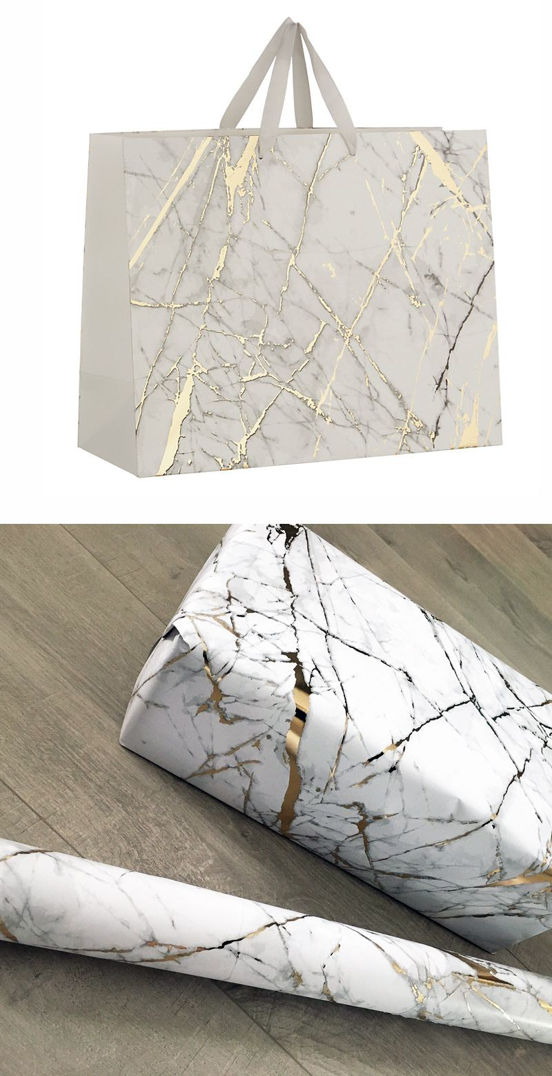 Beautiful White Marble and Gold Gift Wrap Perfect for