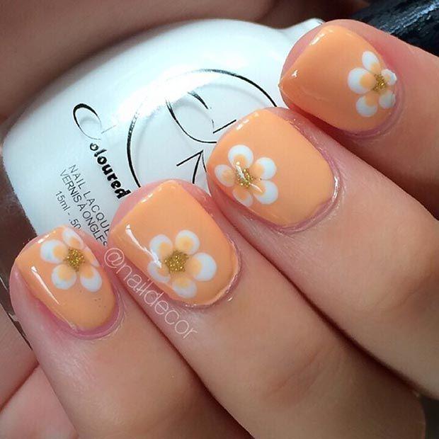 Orange Flower Nail Design For Short Nails Beautynails Makeup