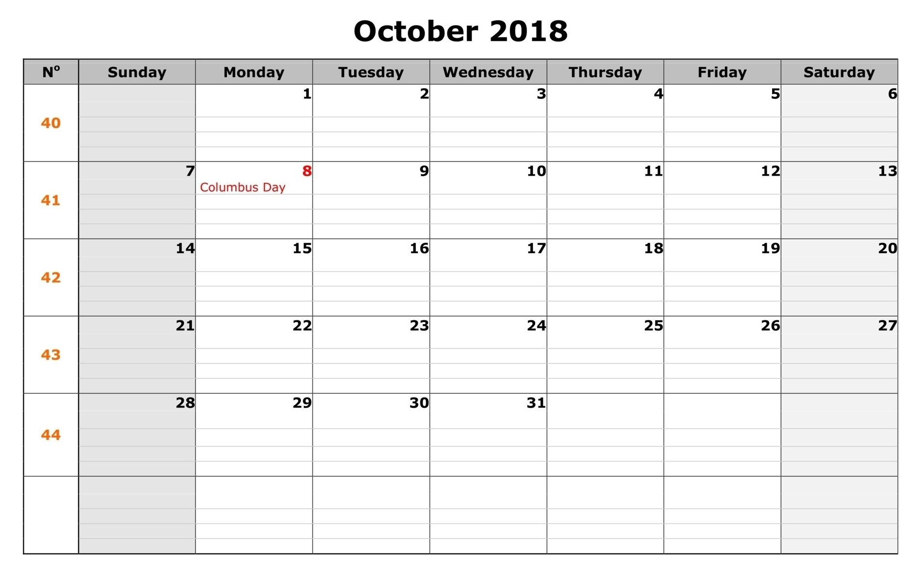 blank october 2018 calendar with holidays