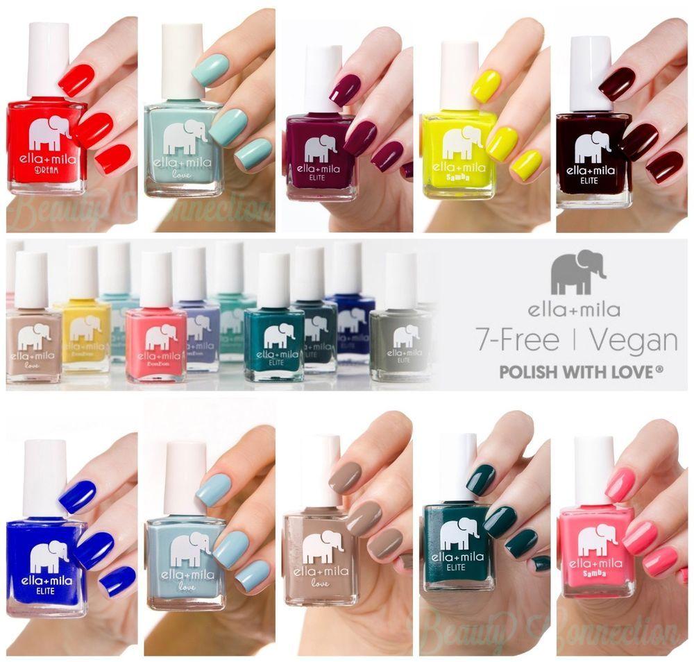 Ella+Mila Nail Lacquer Polish 7 Free Vegan Cruelty Free Full Size ...