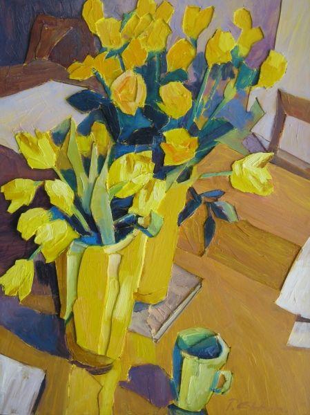 Rozen en tulpen in geel 60 x 80  reliëf, olieverf acryl