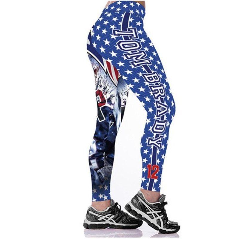 dae3d44c Women Leggings Tom Brady 12 New England Patriots Sport Print Running ...