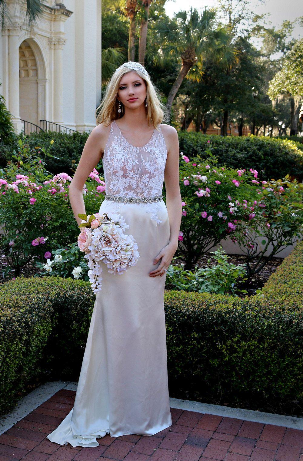 Lightweight wedding dresses  Silk Satin Wedding Dress Romantic Soft French Chantilly Lace Light