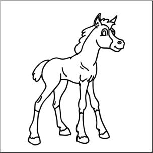 Clip Art Cartoon Horse Foal B W I Horse Clip Art Horses Foals