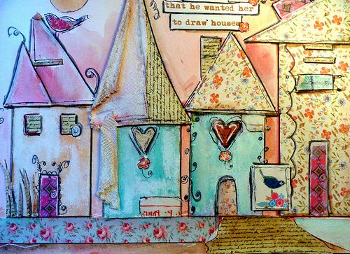 He Would Have Wanted Me To Draw Houses Mixed Media Art Canvas Mixed Media Art Journaling Whimsical Art