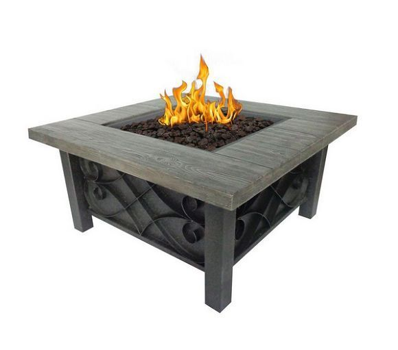 Outdoor Gas Firepit Table Stone Fireplace Portable Garden