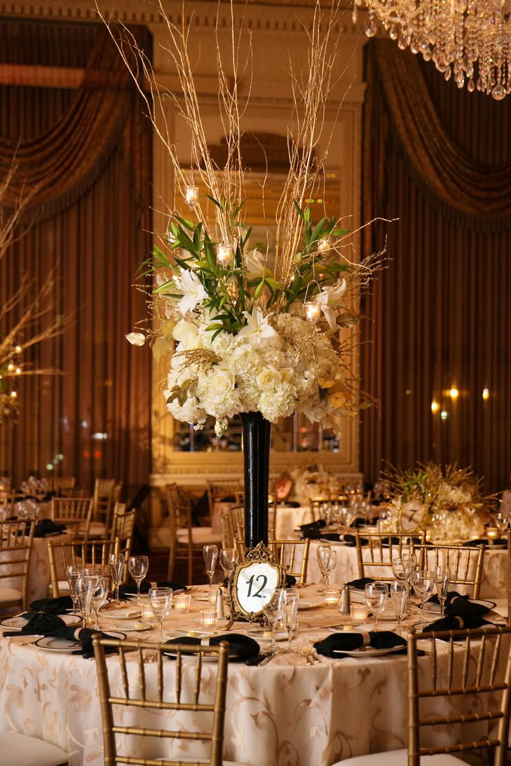 Tall Black Centerpiece Arrangement With White Flowers and Gold ...