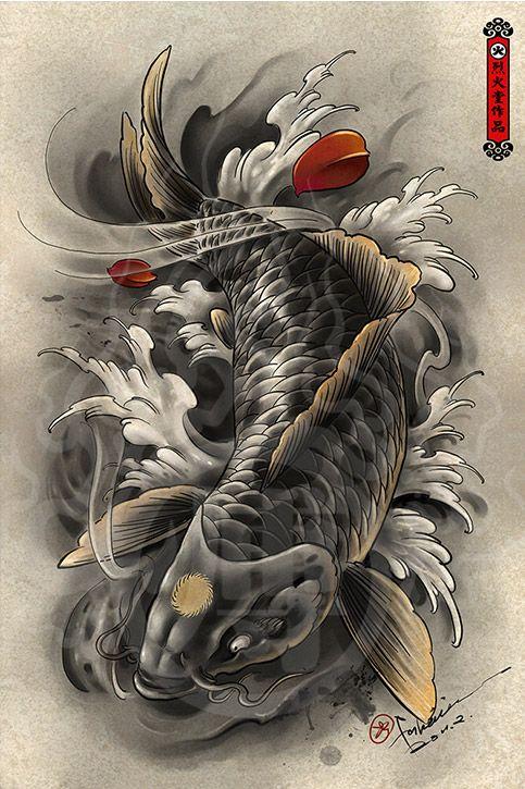 Hailin Tattoo Koi Tattoo Design Koi Dragon Tattoo Koi Tattoo Sleeve