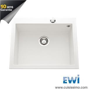 évier Granit Blanc Ewi Urbia 1 Bac 610x500 Id Salon Et Cuisine