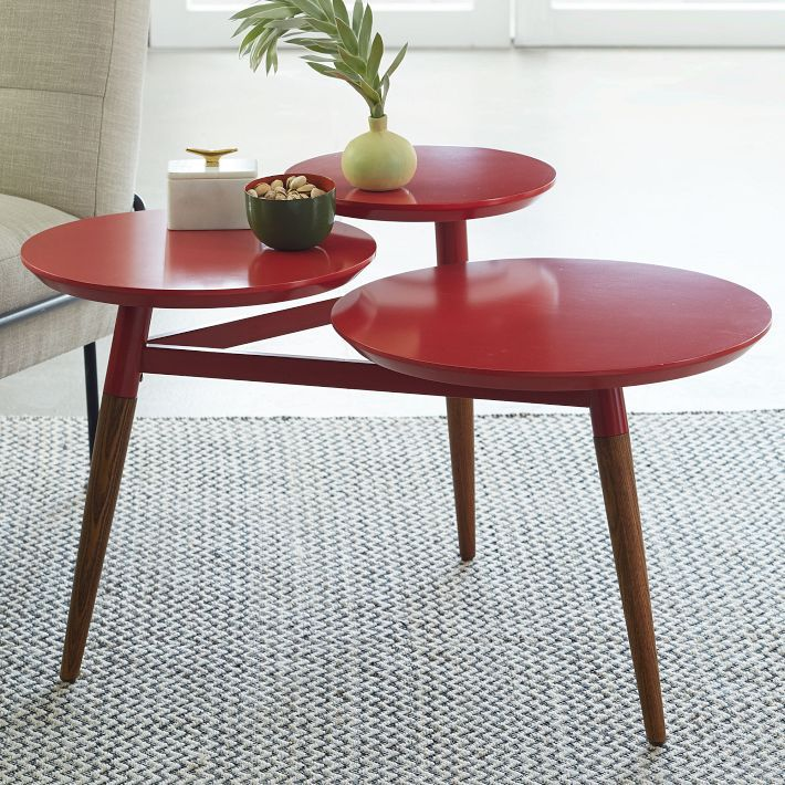 Clover Coffee Table – Red/Pecan A contemporary table with mid-century flair