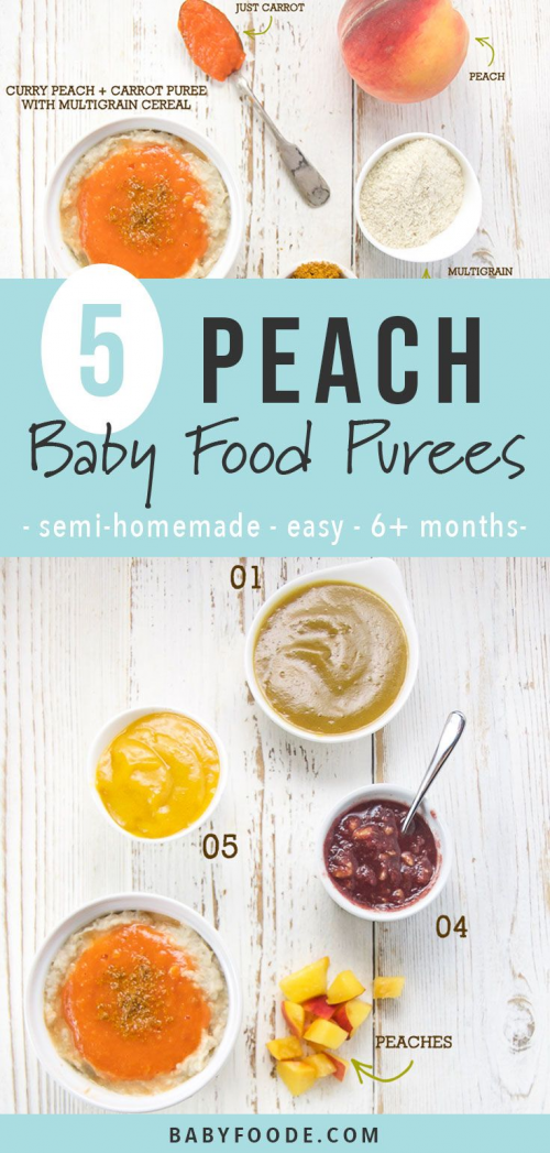 These 5 Easy Summer Peach Baby Food Pairings are the perfect combination of store-bought baby food with a homemade twist. Great for babies 6 months! #babyfood #peaches #healthy #babyfood #baby #food #peach #baby #food