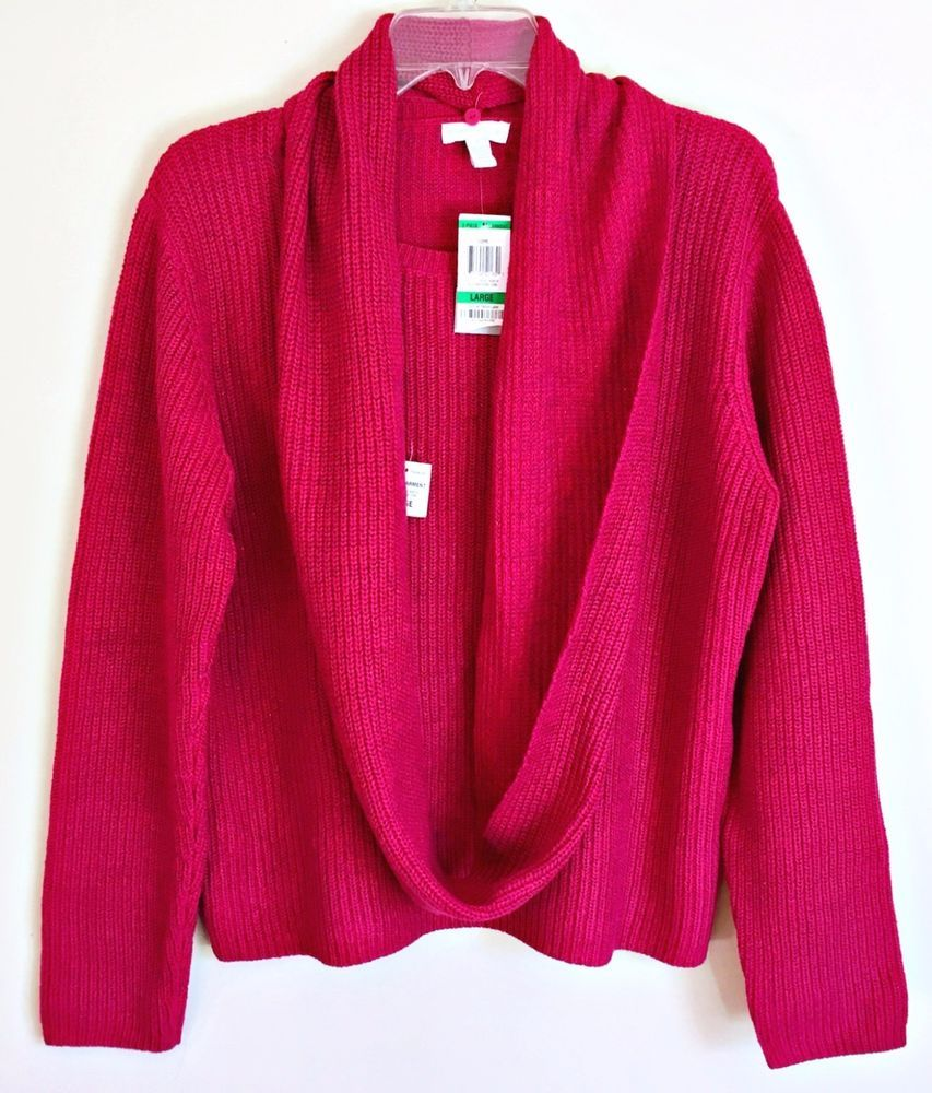 Charter Club NEW Cable Knit Sweater & Scarf SET Rose Pink Shimmer ...