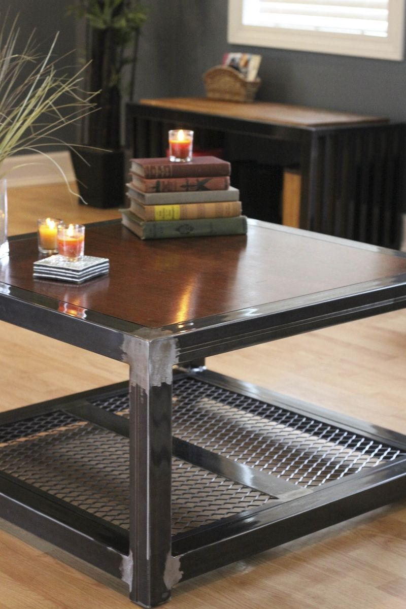 excellent wood metal furniture designs | Custom Made Steel And Wood Coffee Table | welding table in ...