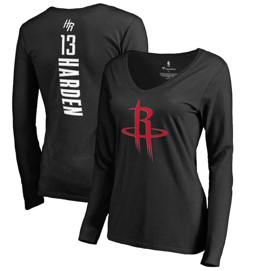 17b7b9958a6d Women s Houston Rockets James Harden Fanatics Branded Black Backer Name    Number Long Sleeve T-Shirt