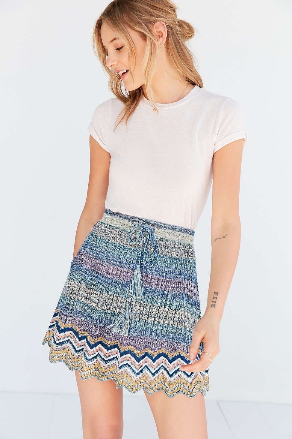 67a4089d8 Ecote Chevron Sweater-Knit Mini Skirt - Urban Outfitters | New ...