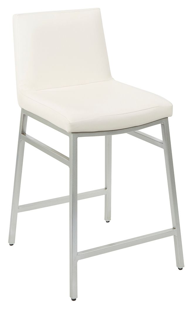 Luna Upholstered Square Back Metal Counter Stool White Silver