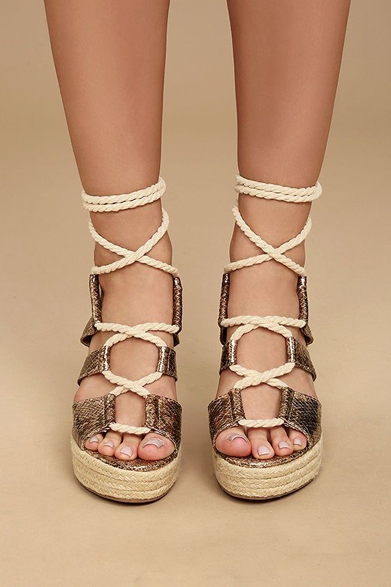 7d3082d227f ... Glamorous Zelda Rose Gold Snake Lace-Up Espadrille Wedges! Shining