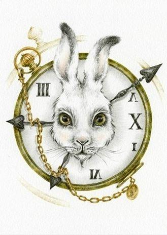 Lapin D'alice Au Pays Des Merveilles : lapin, d'alice, merveilles, Rabbit/watch, Alice, Merveilles, Lapin,, Tatouage, Merveilles,