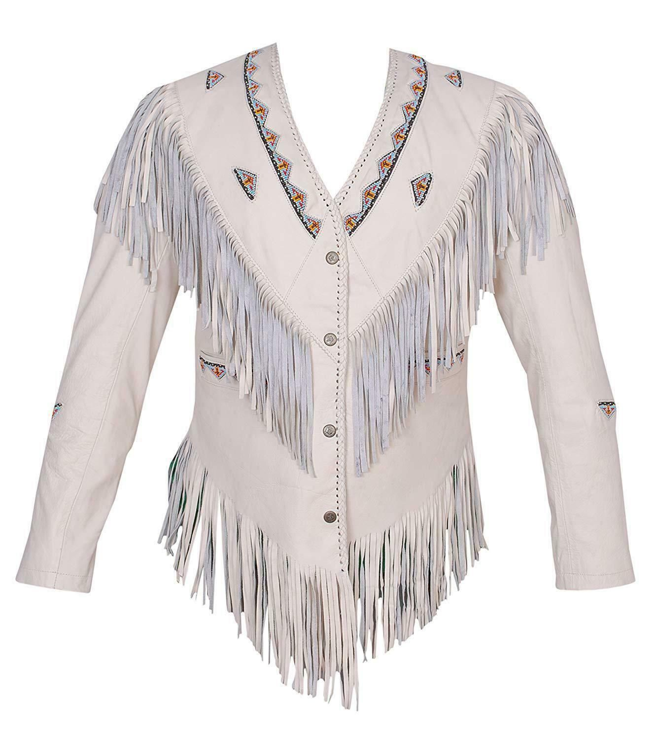 Women's White Color Western Fringed Style Beaded Patches