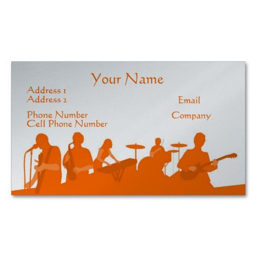 music business card orange rock band - Band Business Cards