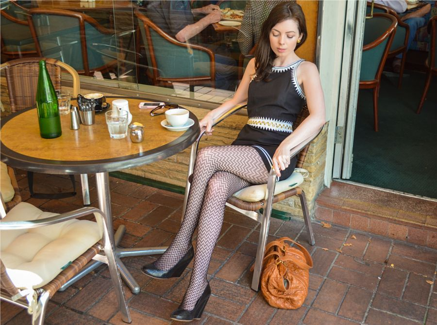 Firehosiery Viva Tights With Sass Bide Dress And Shoes