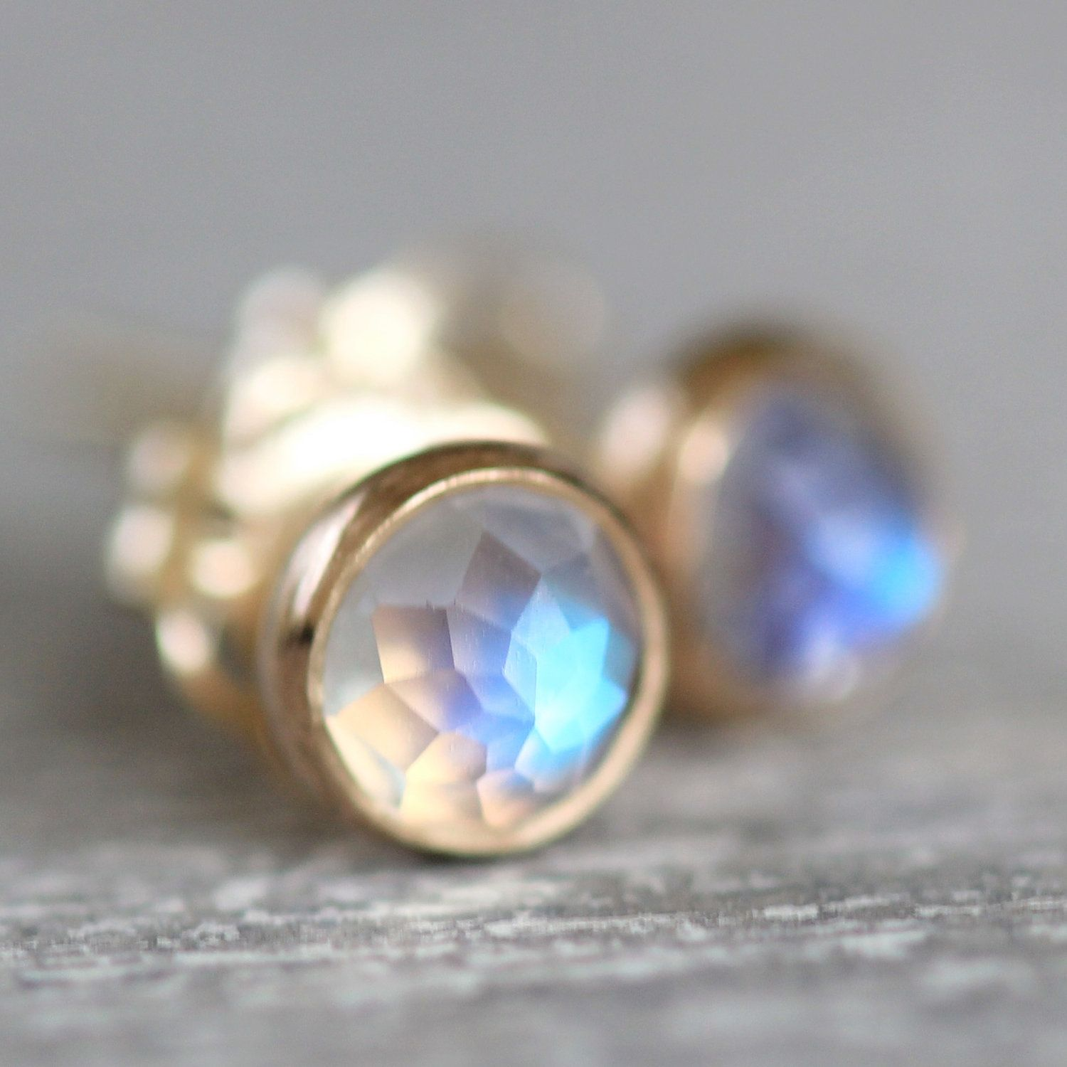 Faceted Rainbow Moonstone Earring Studs In 14k Gold 118 00 Via Etsy