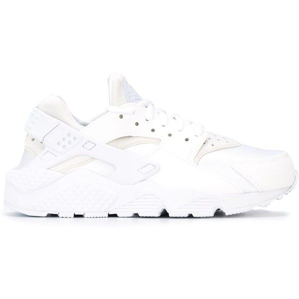 reputable site a1e34 0e1a5 Nike Air Huarache Run Sneakers ( 120) ❤ liked on Polyvore featuring shoes,  sneakers, white, round cap, leather lace up sneakers, white leather shoes,  ...