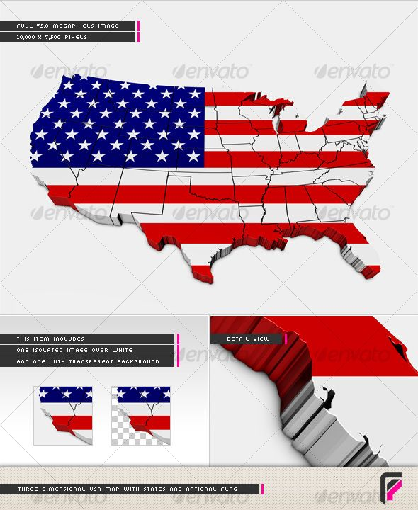 3D USA Map with States and National Flag | National flag, Font logo ...