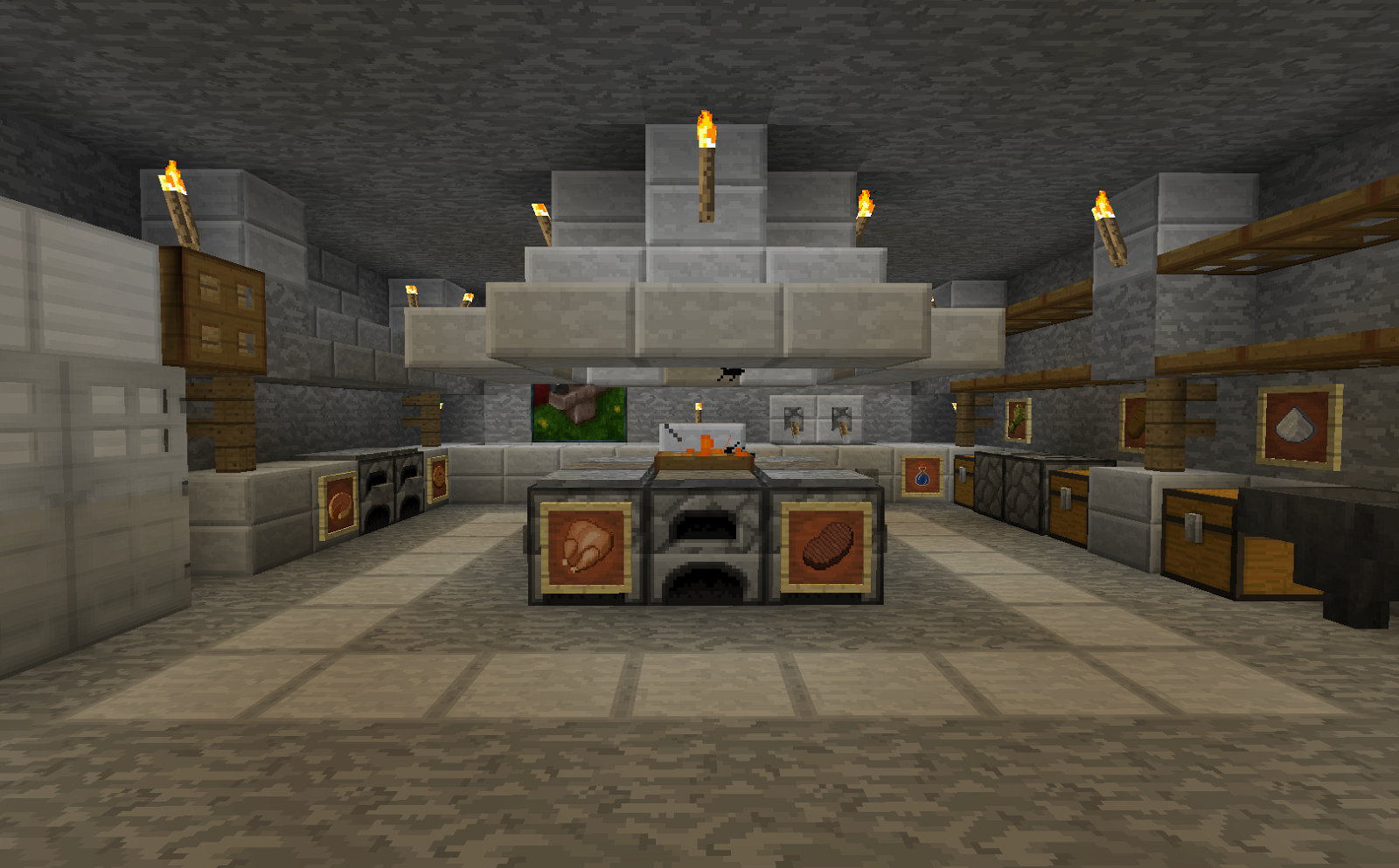 minecraft interior design kitchen Batiment minecraft