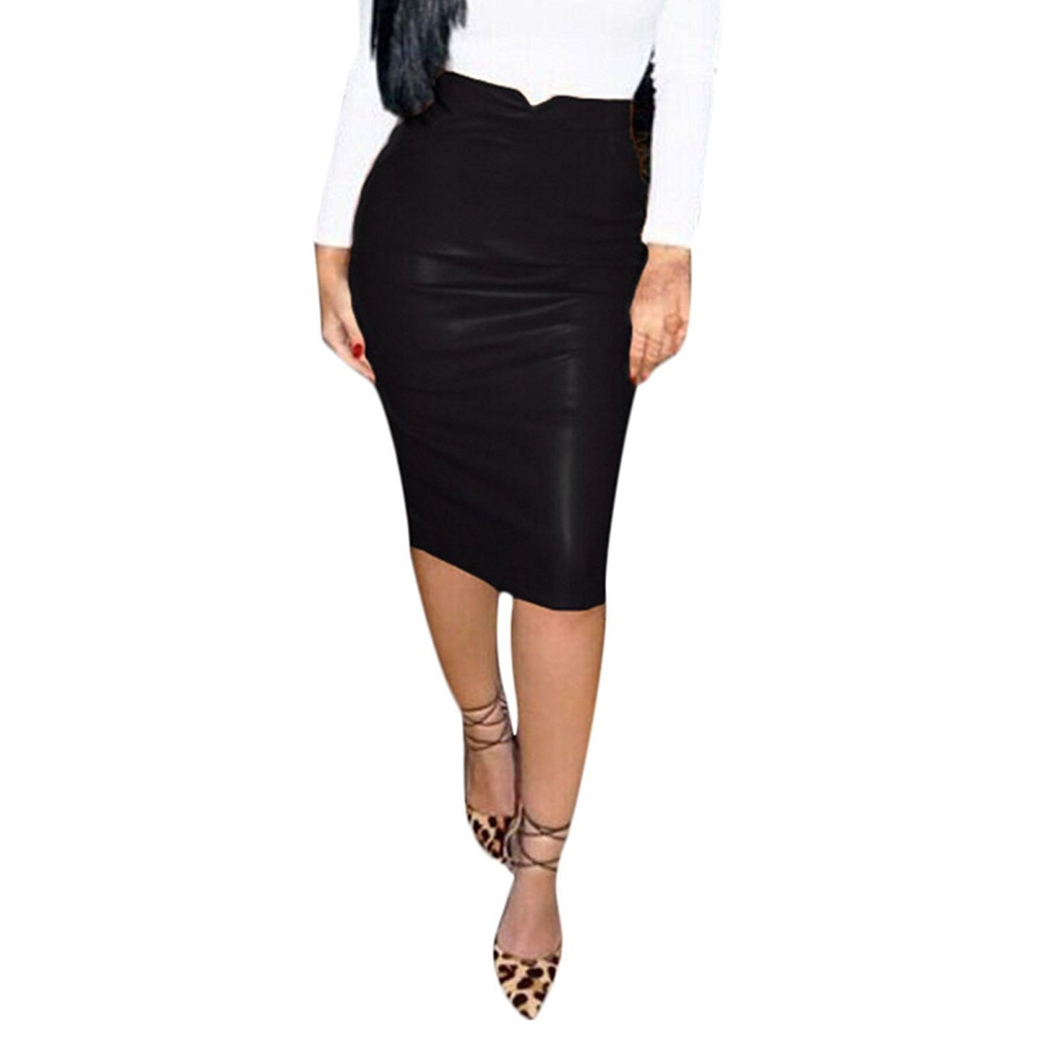 Women's Sexy Hot Red Faux Leather Knee Length Bodycon Business Pencil Skirt