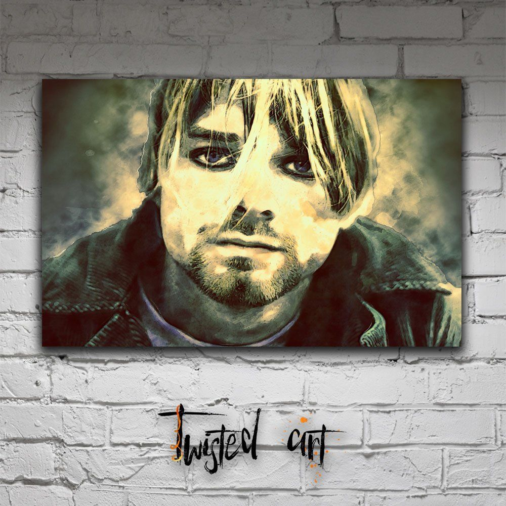 Kurt Cobain Nirvana Music Icon Modern Abstract Box Framed Canvas Art ...