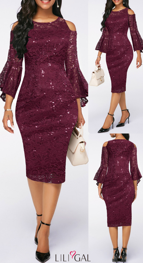 Usd34 38 Flare Sleeve Burgundy Sequin Embellished Lace
