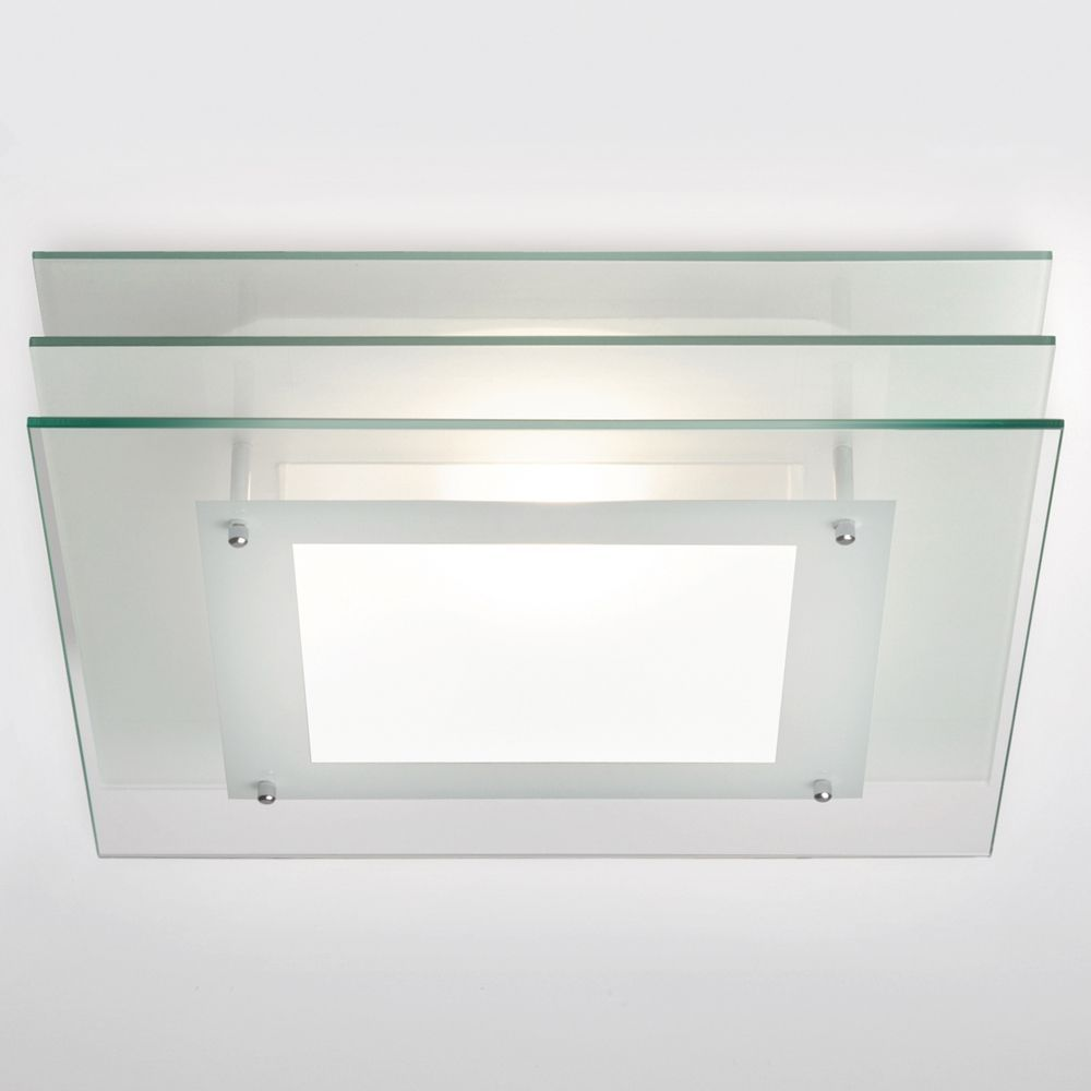 Strata Square IP44 Rated Frosted Glass Bathroom Ceiling Light. Astro ...