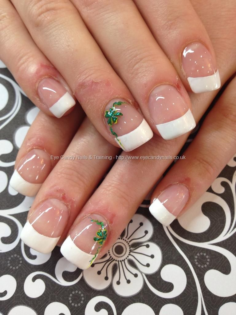 White+French+polish+with+shamrock+freehand+nail+art | NAILS ...