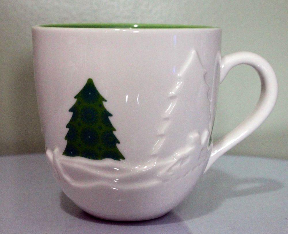 Starbucks Christmas Tree Holiday 2006 Coffee Mug White Snow Green ...